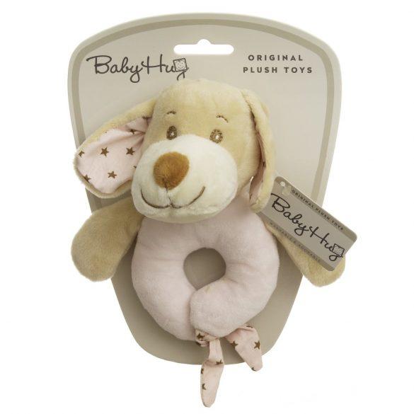 Baby Hug Plüss csörgő - rózsaszín kutya - 15 cm