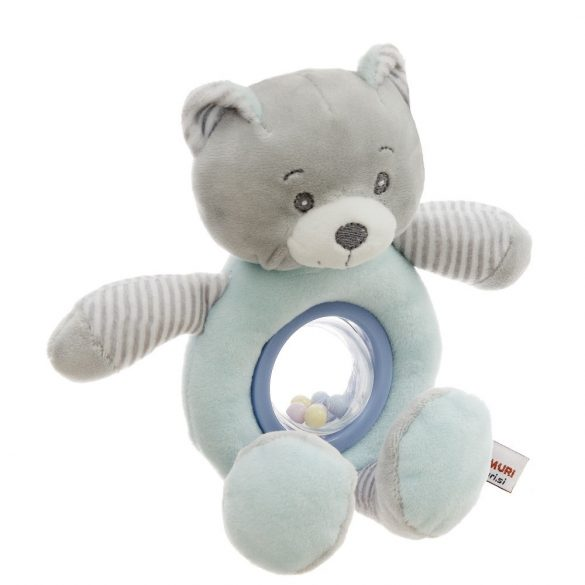 Baby Hug Plüss csörgő - kék-szürke maci - 24 cm