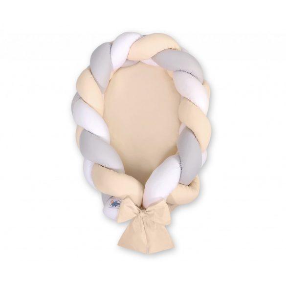 Fonott babafészek és rácsvédő - 2in1 - fehér-szürke-bézs  - bézs alap