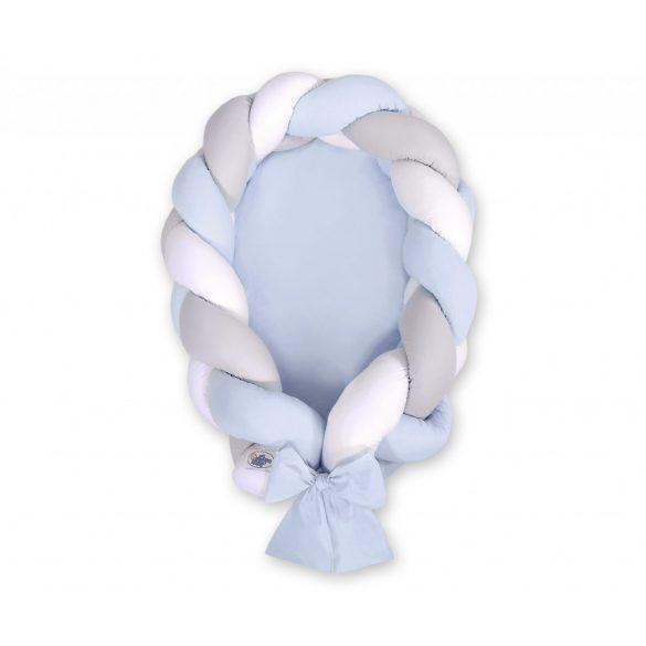 Fonott babafészek és rácsvédő - 2in1 - fehér-szürke-kék  - kék alap