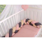BabyLion Prémium Fonott rácsvédő - Sötétszürke - Púder rózsaszín - Bézs