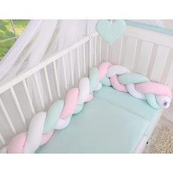BabyLion Prémium Fonott rácsvédő - Menta-Fehér-Rózsaszín