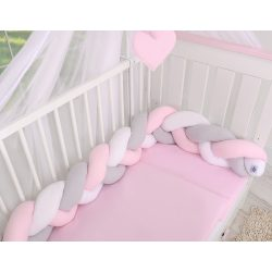 BabyLion Prémium Fonott rácsvédő - Rózsaszín-Szürke-Fehér