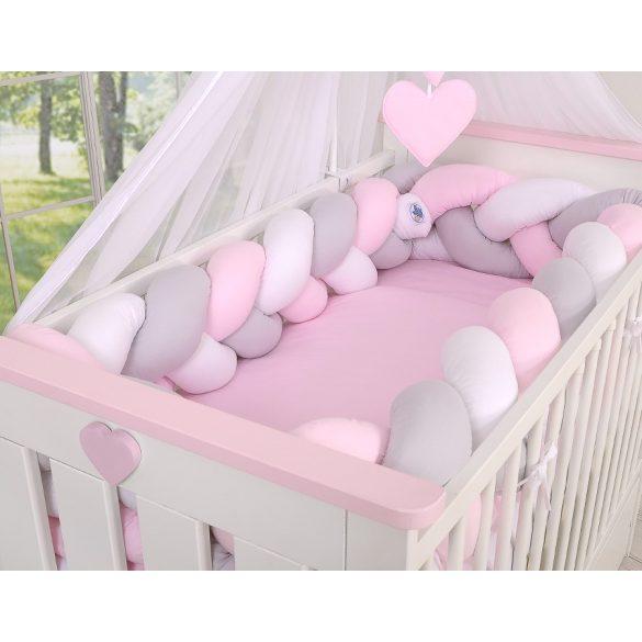 BabyLion Prémium Fonott rácsvédő XXL - Rózsaszín-Szürke-Fehér