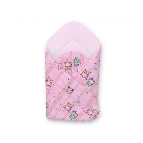 BabyLion Prémium pólya - Rózsaszín belső - Rózsaszín baglyok