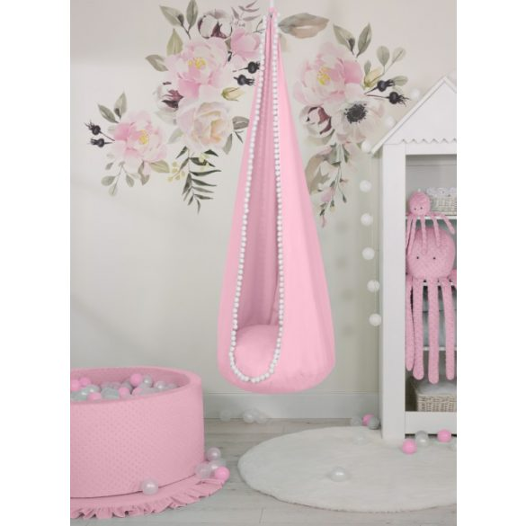 BabyLion Prémium csepphinta - Rózsaszín - fehér bojtokkal