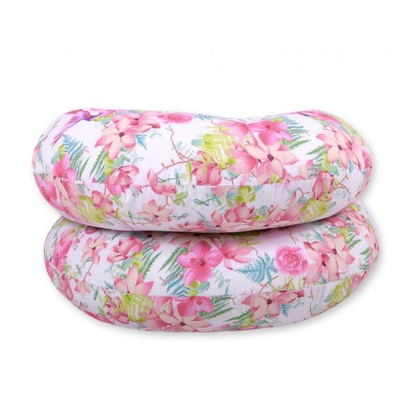 BabyLion Prémium XXL Ölelő párna - Rózsaszín virágok és kolibrik