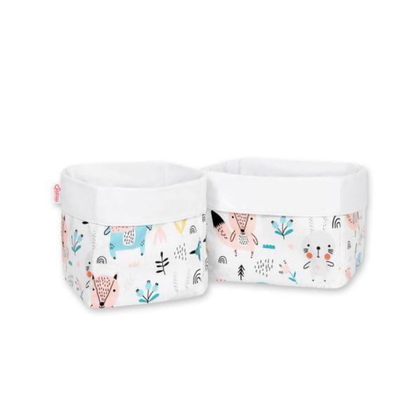 BabyLion Prémium Játéktároló 2 db - Fehér alapon világoskék maci és barátai