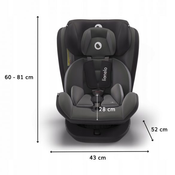Lionelo Bastiaan 360°-ban forgatható ISOFIX gyermekülés 0-36 kg - Grey - Fekete bázistalppal