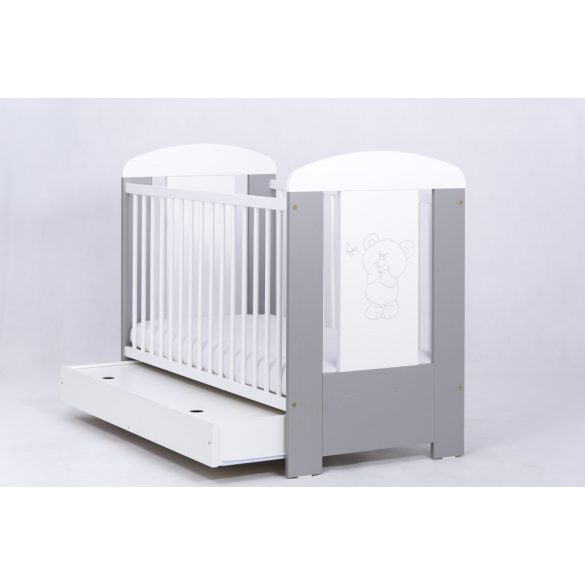 Drewex Bear&Butterfly kiságy ágyneműtartóval 60x120 - Silver-White