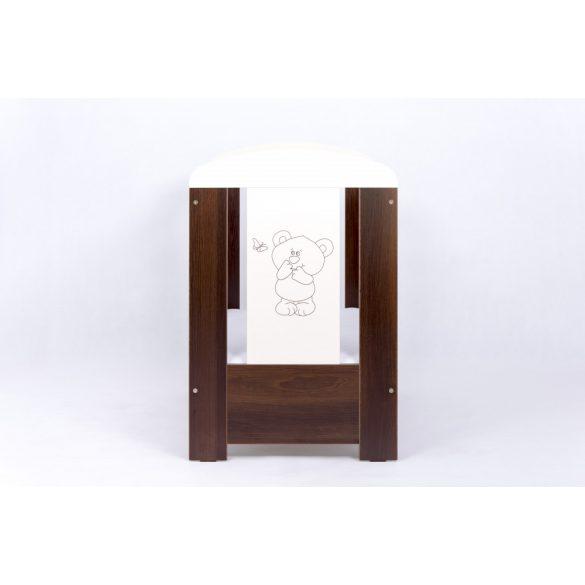 Drewex Bear&Butterfly kiságy leereszthető oldallal 60x120 - Dark Nut - Ecru