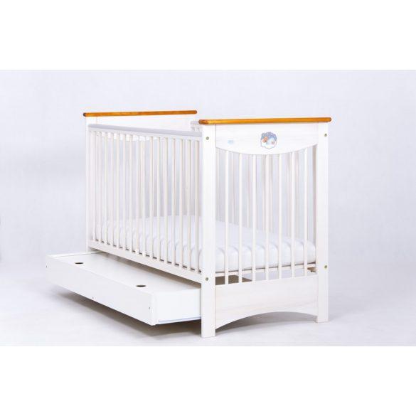 Drewex Laura kiságy ágyneműtartóval 60x120 - White Transparent - Teak
