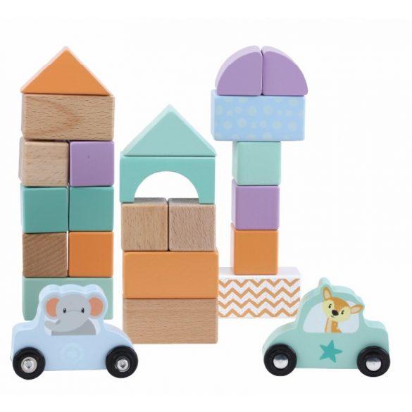 Sun Baby Fa építőkockák (60 db-os készlet) - Autós állatok
