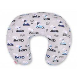 BabyLion Prémium Etető párna - Szürke autós nyuszik