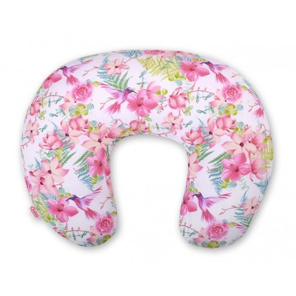 BabyLion Prémium Etető párna - Rózsaszín virágok és kolibrik