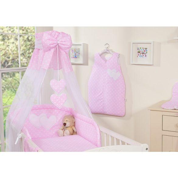 BabyLion Prémium baldachin - Rózsaszín - fehér pöttyös - szivecskével