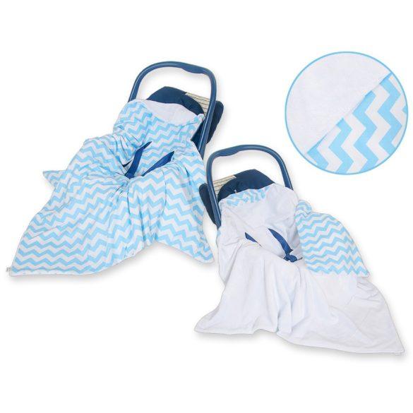 BabyLion Prémium univerzális takaró - Fehér - Kék cikkcakk