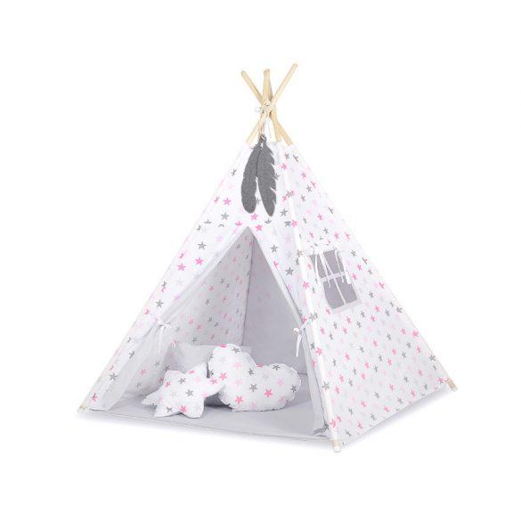 BabyLion Textil sátor - Szürke - Rózsaszín csillagok