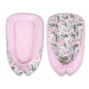 BabyLion Prémium babafészek -   Kifordítható!  -  Rózsaszín - Virágok