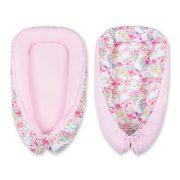 BabyLion Prémium babafészek - Rózsaszín virágok és kolibrik
