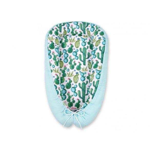 BabyLion Prémium babafészek - Menta - Zöld kaktuszok