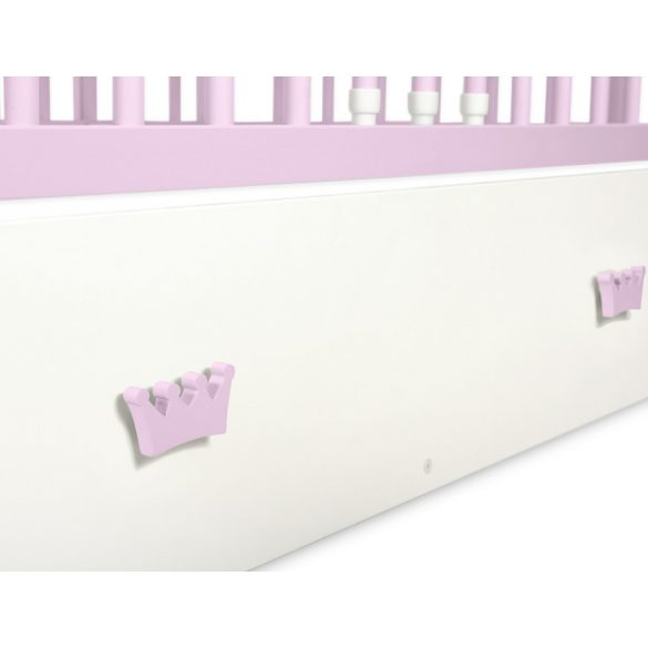 BabyLion Prémium Maxi Princess kiságy ágyneműtartóval - 60x120 - Rózsaszín