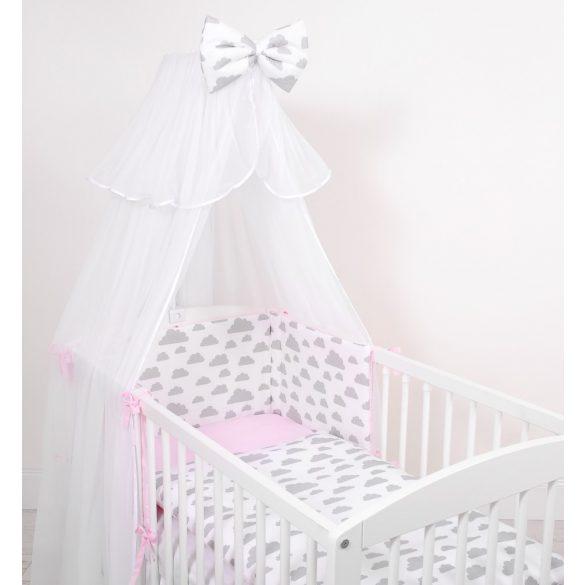BabyLion Prémium 5 részes ágynemű szett -Rózsaszín - Szürke felhők