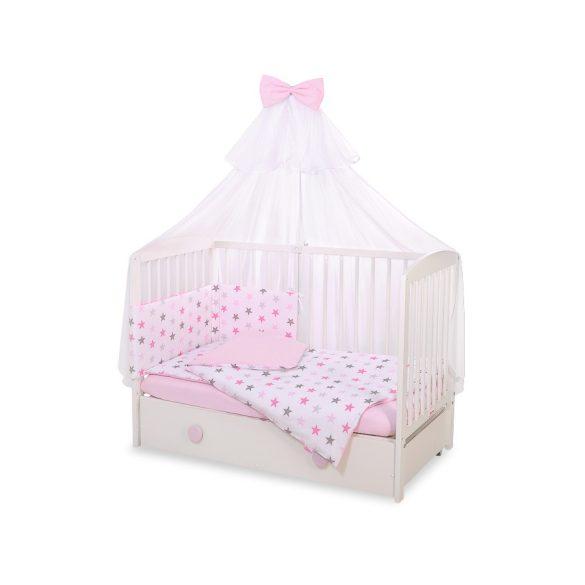 BabyLion Prémium 5 részes ágynemű szett - Rózsaszín csillagok
