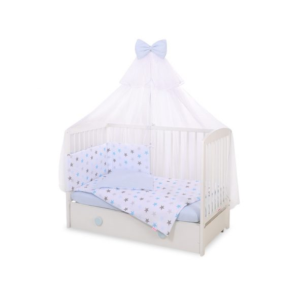 BabyLion Prémium 5 részes ágynemű szett - Kék csillagok