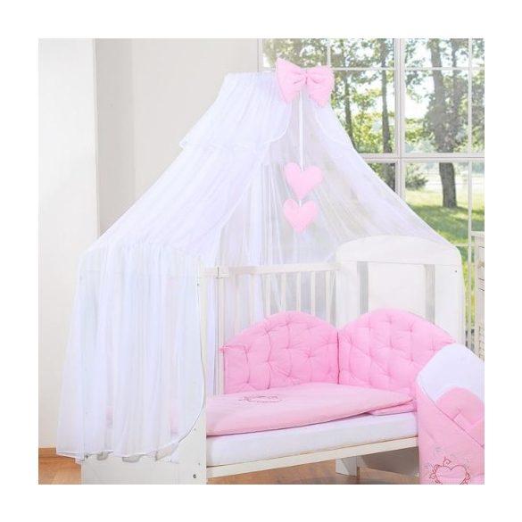 BabyLion Prémium baldachin - Fehér - Rózsaszín masni