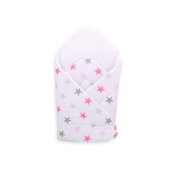 BabyLion Prémium pólya - Fehér - Rózsaszín csillagok