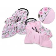 BabyLion Prémium univerzális kétoldalas takaró - Rózsaszín - virágok