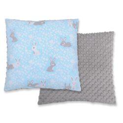 BabyLion Prémium Két oldalas Minky párna - Kék nyuszik