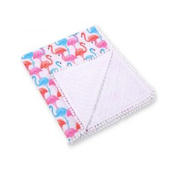BabyLion Prémium két oldalú Minky takaró - Fehér - Flamingo