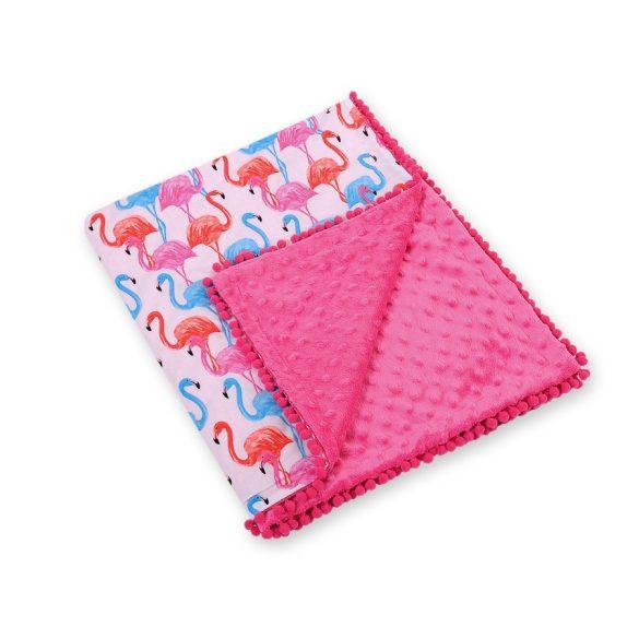 BabyLion Prémium két oldalú Minky takaró - Rózsaszín - Flamingo