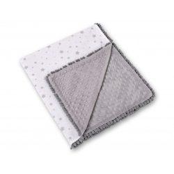 BabyLion Prémium pom-pom takaró Minky - Fehér alapon szürke csillagok