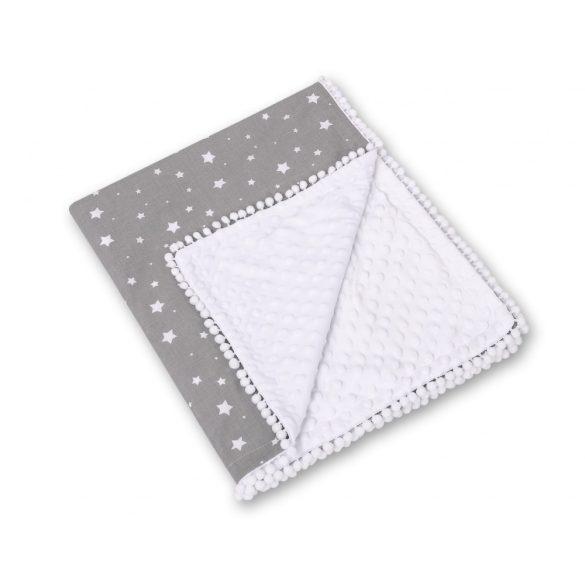 BabyLion Prémium pom-pom takaró Minky - Szürke alapon fehér csillagok