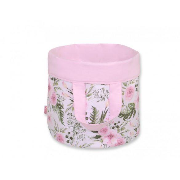 BabyLion Prémium Kifordítható Játéktároló - L - Rózsaszín virágok