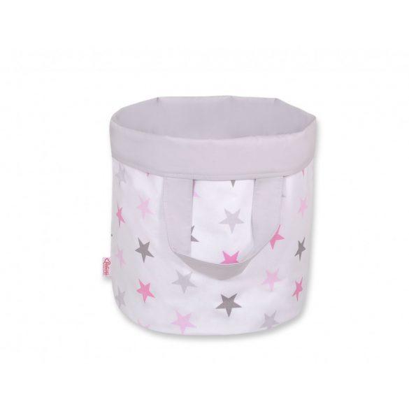 BabyLion Prémium Kifordítható Játéktároló - L - Szürke - Rózsaszín csillagok
