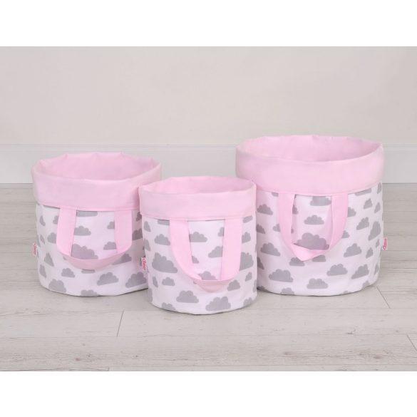 BabyLion Prémium Kifordítható Játéktároló - M - Rózsaszín felhők