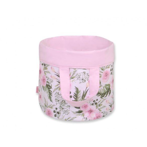 BabyLion Prémium Kifordítható Játéktároló - M - Rózsaszín virágok