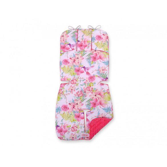 BabyLion Prémium babakocsi betét - Rózsaszín virágok és kolibrik
