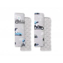 BabyLion Prémium Biztonsági öv védő - Minky - Szürke autós nyuszik