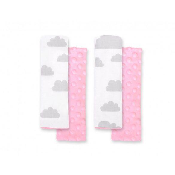 BabyLion Prémium Biztonsági öv védő - Minky - Rózsaszín felhők