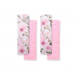 BabyLion Prémium Biztonsági öv védő - Minky - Rózsaszín virágok
