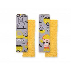BabyLion Prémium Biztonsági öv védő - Minky - Sárga munkagépek