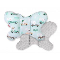 BabyLion Prémium Minky pillangó párna - Nyuszik - Szürke - Kék