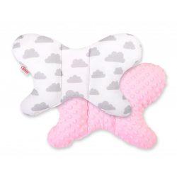 BabyLion Prémium Minky pillangó párna - Rózsaszín - felhők