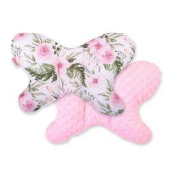 BabyLion Prémium Minky pillangó párna - Rózsaszín virágok