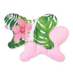 BabyLion Prémium Minky pillangó párna - Trópusi  -Rózsaszín